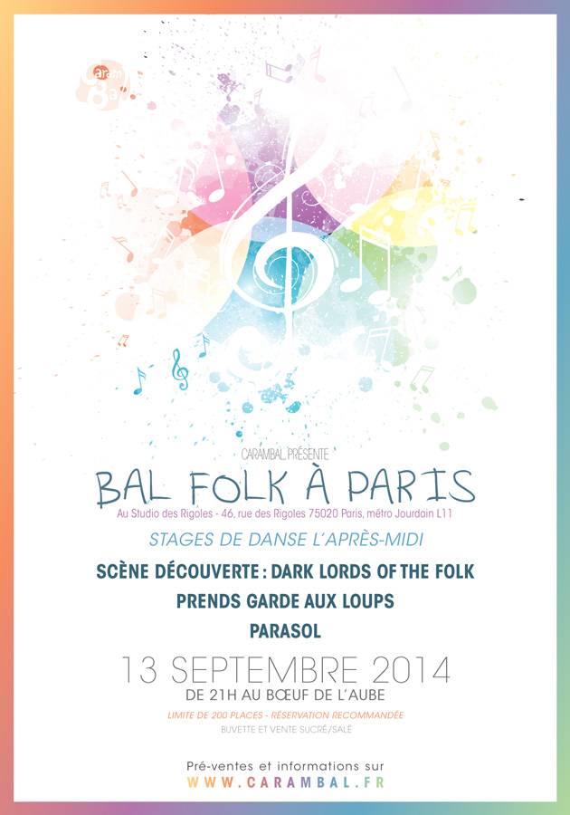 Affiche Bal folk stages et bal Carambal à Paris