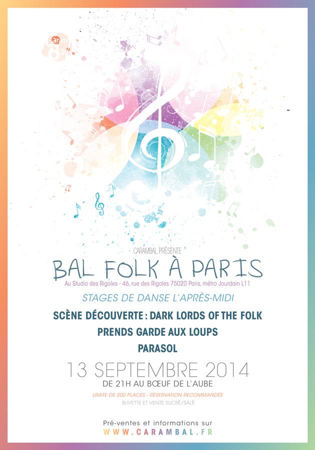 Affiche Bal folk stages et bal Carambal à Paris