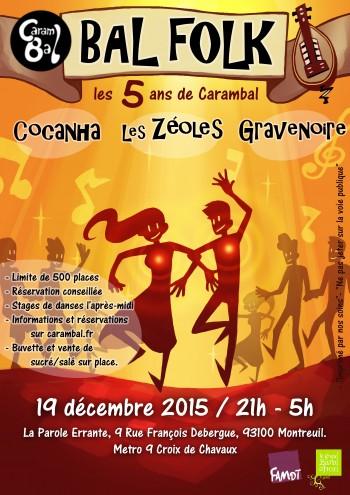 Bal folk le 19 décembre à Montreuil avec Cocanha, Gravenoire, et les Zéoles